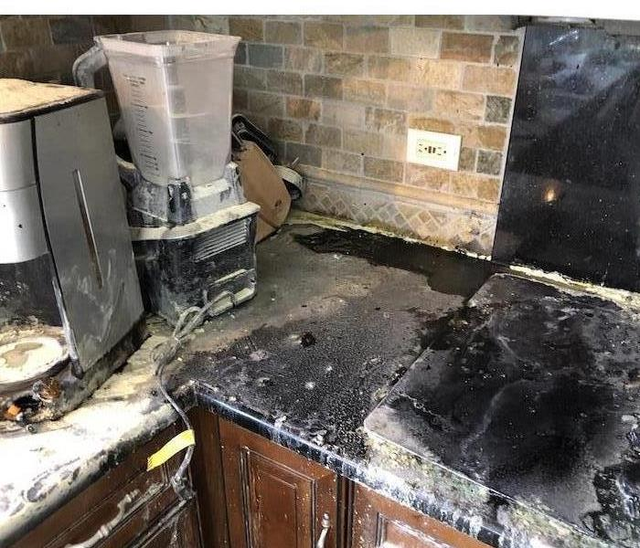 Counters, cabinets with burnt content